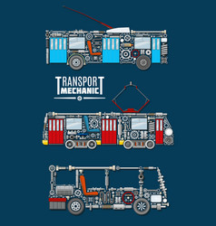 transport mechanics and mechanisms vector image vector image