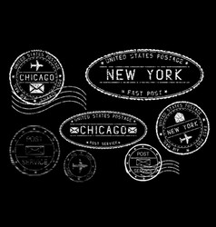 white postmarks on black background cities vector image
