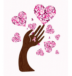 breast cancer awareness love ribbon hand tree art vector image