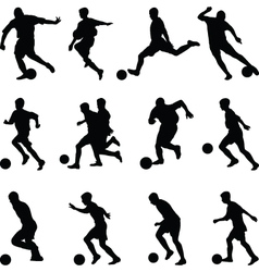 soccer player silhouette vector image vector image