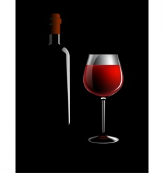 wine bottle and glass vector image