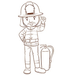 A plain sketch of a fireman vector image