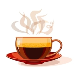 Glass cup with hot coffee vector