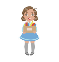happy sweet little schoolgirl carrying box with vector image