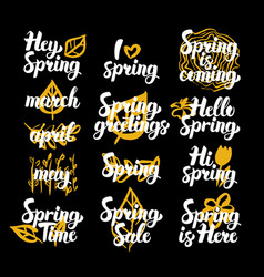 Spring time hand drawn quotes vector
