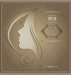 woman s silhouette with beautiful vector image vector image