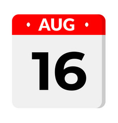 16 august calendar icon vector
