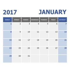 2017 January calendar week starts Sunday vector image vector image