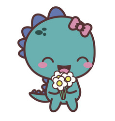 A dinosaur happy girl with flower good day vector