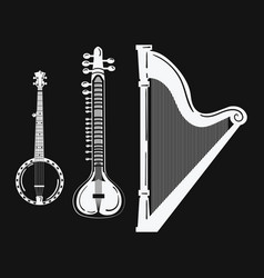 a set musical instruments stylized harp black vector image