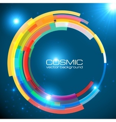 Abstract cosmic shining colorful circle frame vector image