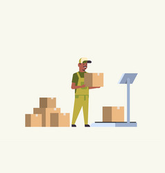 african american courier man in uniform putting vector image