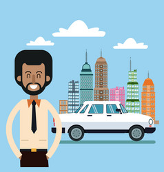 Afroamerican man and car city background vector