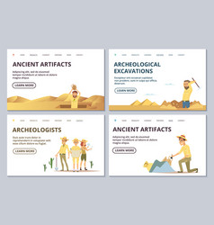 archeologists landing page templates cartoon vector image
