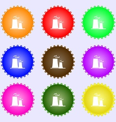 Atomic power station icon sign Big set of colorful vector