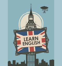 Banner for learn english with big ben vector