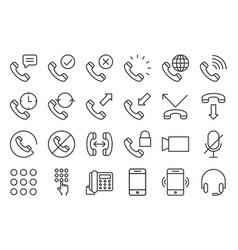 Basic phone and call icon set outline style vector