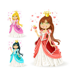 beautiful fairy princess in a different color vector image