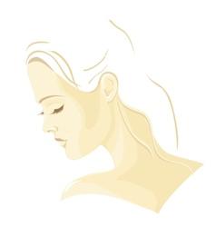 Beautiful girl in profile vector