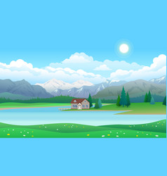 Beautiful landscape with house on lake forest and vector
