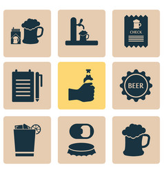 beverages icons set with beer lid record an order vector image