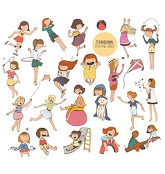 Big set of fun kids in various summer activities vector