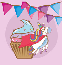 birthday party unicorn party cartoons vector image