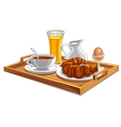 breakfast on tray in hotel vector image