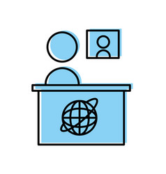 Breaking news desk icon vector