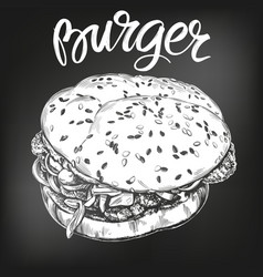 burger hamburger hand drawn vector image