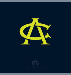 c and a monogram consist intertwined lines vector image