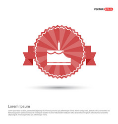 cake icon - red ribbon banner vector image