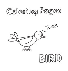 Cartoon bird coloring book vector
