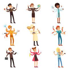 cartoon flat multitasking characters set men and vector image