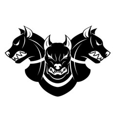 Cerberus heads black and white vector