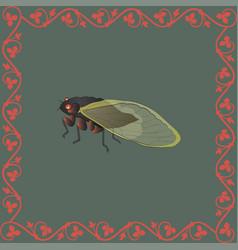 Cicada color in medieval floral frame vector