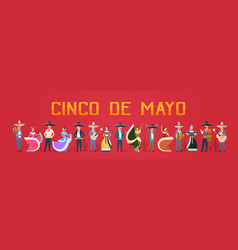 Cinco de mayo festival poster with mexican people vector
