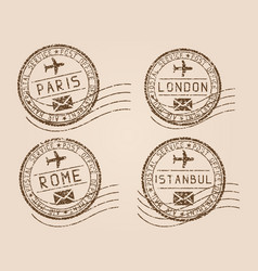 City postmarks old faded retro styled impress vector