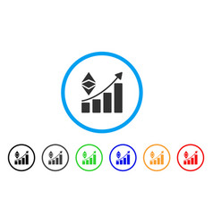 classic ethereum growth trend rounded icon vector image