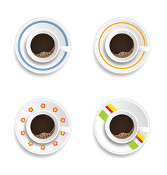 Coffee cup drink refreshment set vector