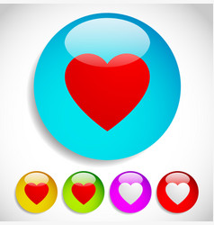 Colorful icons with hearts for love affection vector