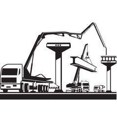 construction machinery building a bridge vector image