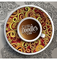 Cup of coffee and hand drawn curls nature doodles vector