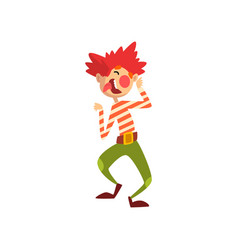 cute funny clown cartoon character having fun vector image