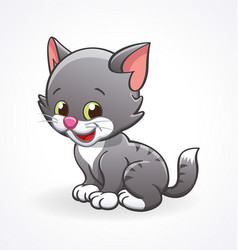 Cute smiling cartoon kitten cat sitting vector