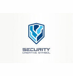 cyber security shield creative symbol concept vector image