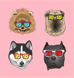 dog wearing sunglasses year dog vector image