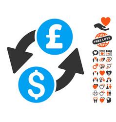 Dollar pound exchange icon with lovely bonus vector