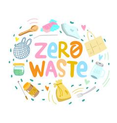 Eco zero waste hand written lettering sign vector