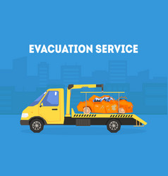 evacuation service banner template tow truck vector image